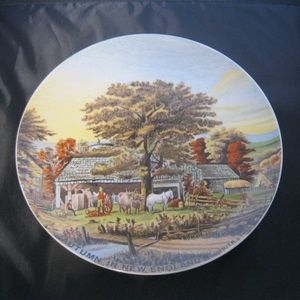 Vintage Currier & Ives Autumn in New England Decor